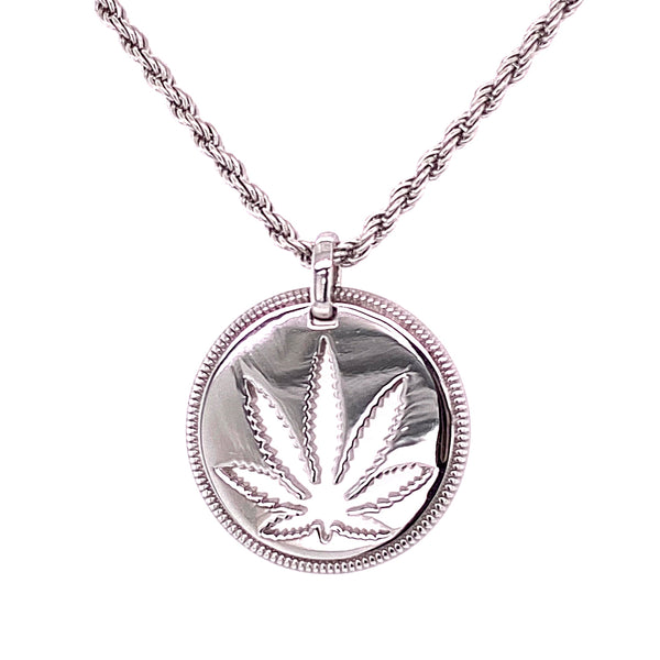 Sterling Silver Sativa Pendant - Cutout Disc - Milgrain Edge - Denver Rope Chain