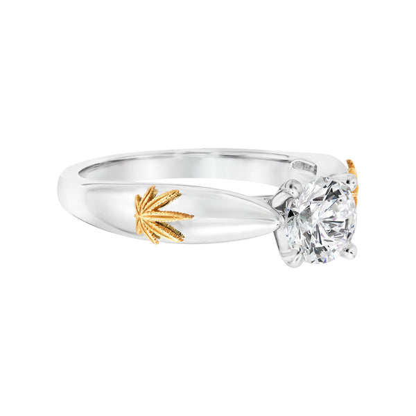 Engagement Ring 14KT White Gold with 18kt Yellow Gold Leaf