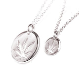 18mm and 10mm White Gold Sativa Leaf Cutout Disc Pendant