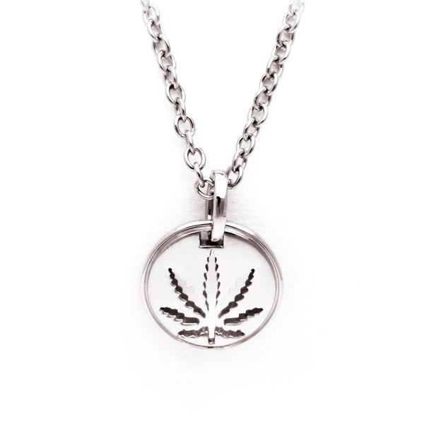 White Gold Sativa Leaf Cutout Disc Pendant