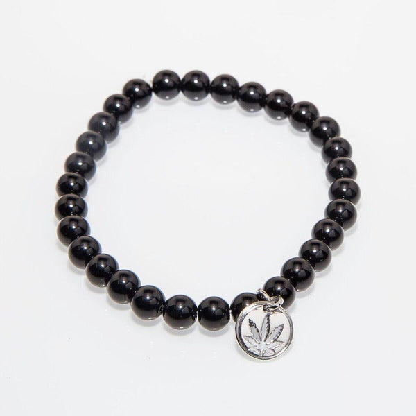 Gemstone Beaded Bracelet Sterling Silver Charm - Black Onyx
