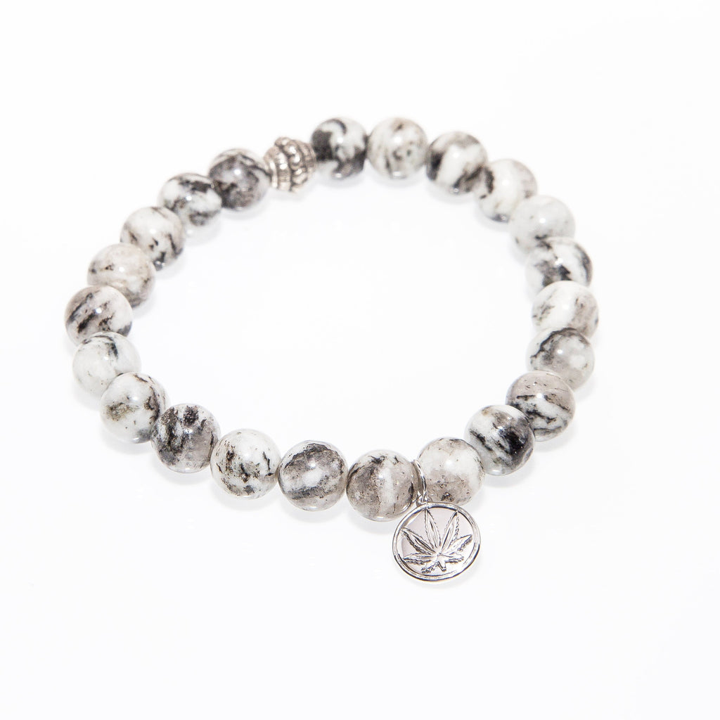 Sterling Silver Cut Out Charm Agate Gemstone Bead Bracelet