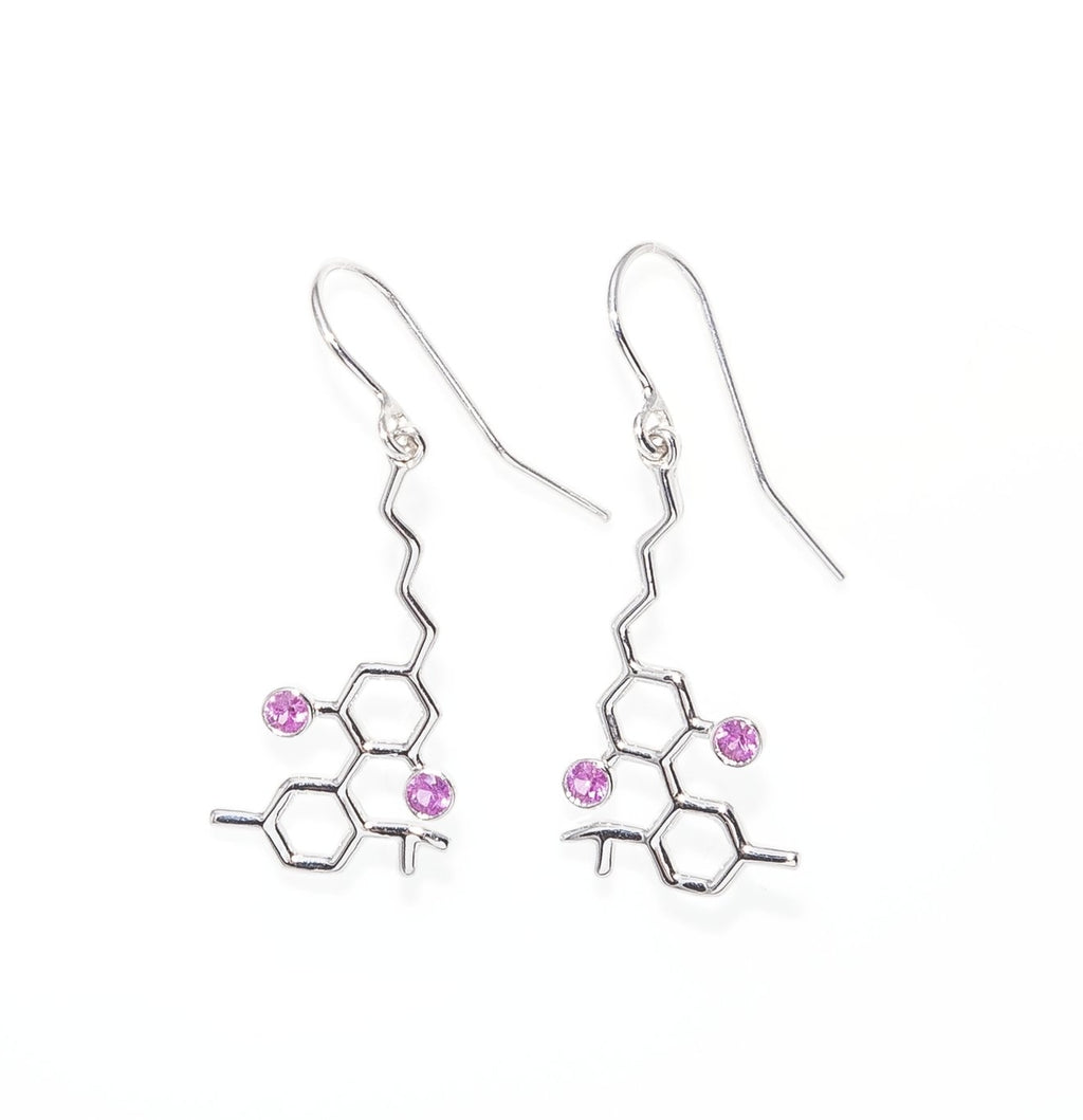 Sterling Silver CBD Molecule with Pink Sapphires Earrings
