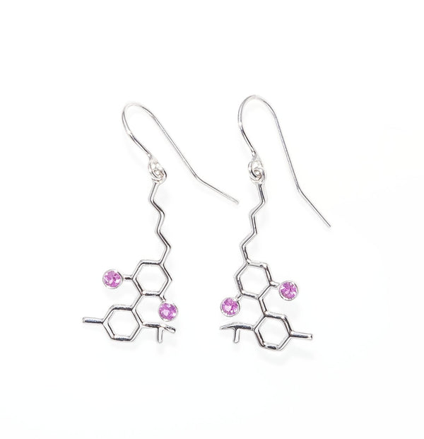 Sterling Silver Molecule Earrings Pink Sapphires