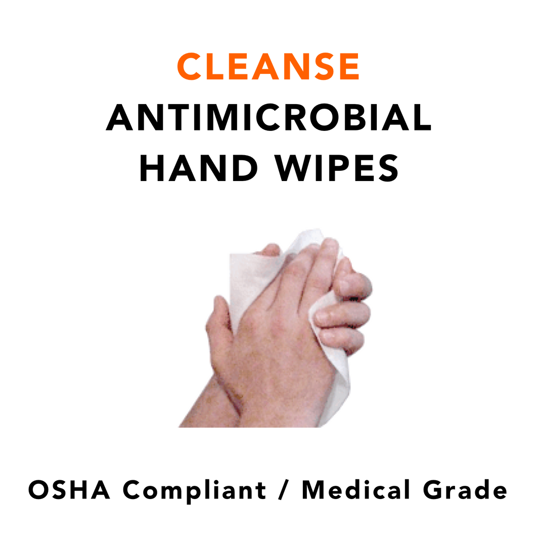 CLEANSE · Hospital Grade Antimicrobial Hand Wipes (1 Case, 12 Tubs, 135 ea per tub)