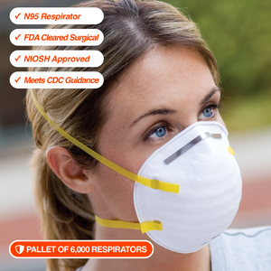 6,000 N95 Respirators • NIOSH Approved • FDA Cleared