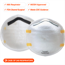 240 N95 Respirators | NIOSH Approved | FDA Cleared | Made in USA (240 per case, 12 boxes of 20ea)