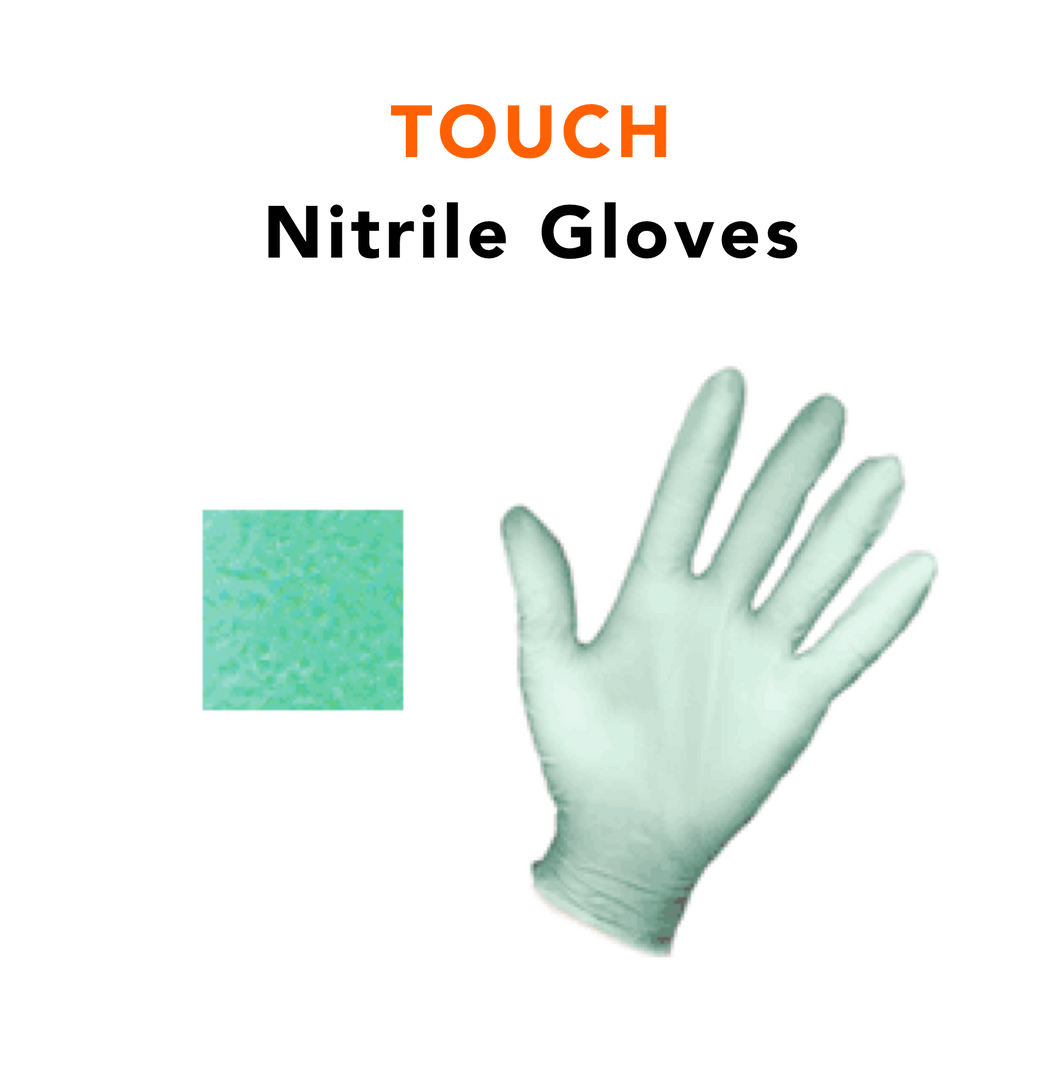 TOUCH · Non Allergic Nitrile Gloves to Keep Hands Pathogen Free (100/box)
