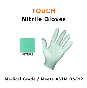 TOUCH · Hypoallergenic Nitrile Gloves ( 1 Case / 10 boxes / 2,000 gloves)