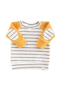 Sunny Yellow Coastal Stripe Patch Sweatshirt