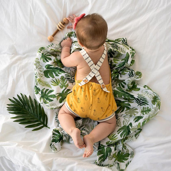 Sunny Yellow Pineapple Cross Back Romper