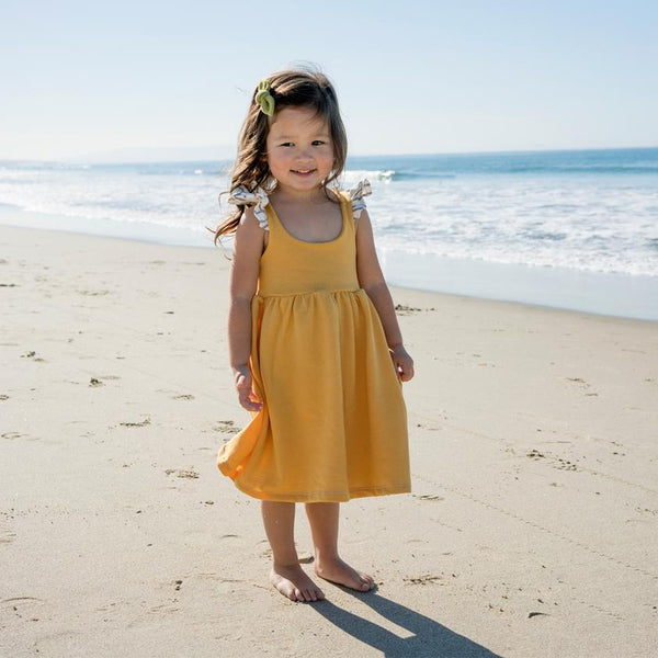 Sunny Yellow and Coastal Stripe Flutter Dress