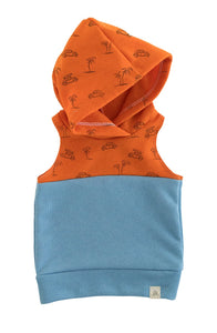 Tangerine Beach Bug and Seaside Blue Block Sleeveless Hoodie