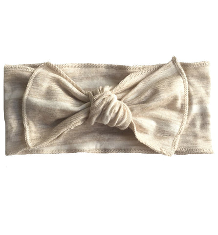 Oatmeal + White Stripe Bow