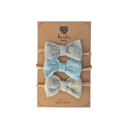 Organic Cream + Blue + Pinstripe Bow Set