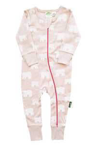 Signature 2-Way Zipper Romper - Pink Bears