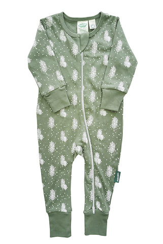 Signature 2-Way Zipper Romper - Snowy Trees
