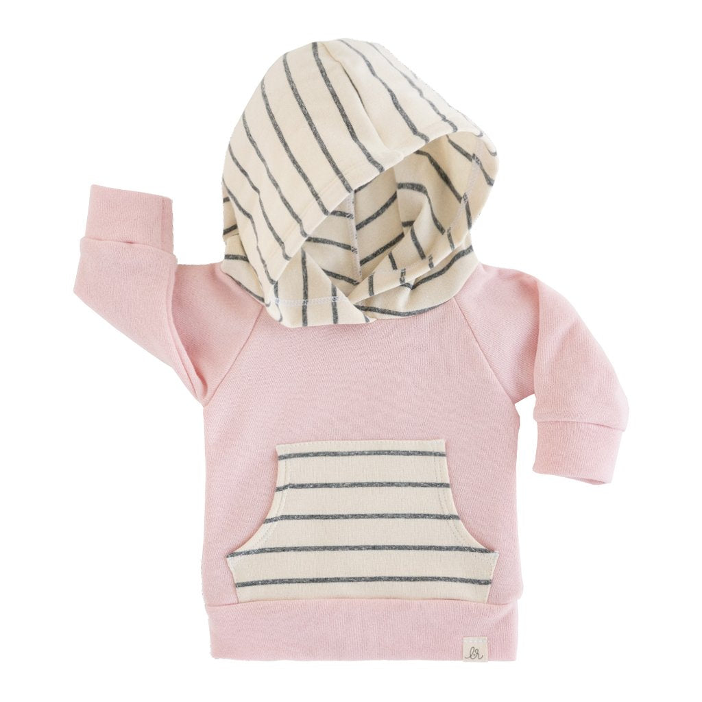Petal Pink and Woven Stripe Hoodie