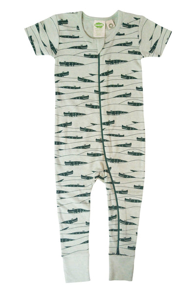 Signature 2-Way Zipper Romper - Green Crocodiles