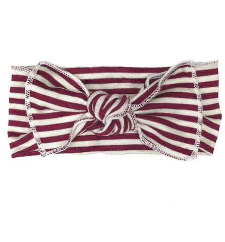 Maroon + White Stripe Bow