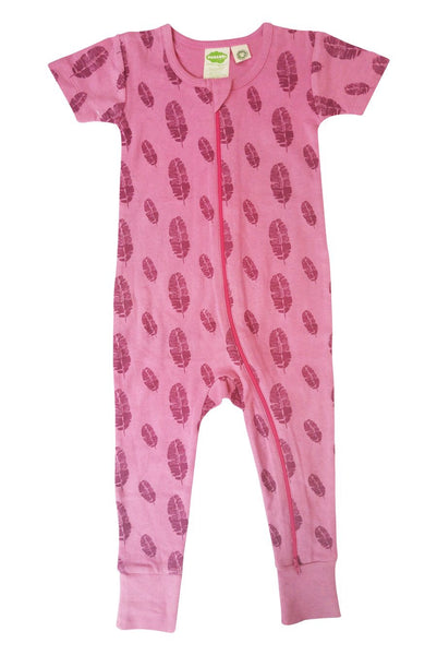 Signature 2-Way Zipper Romper - Pink Feathers
