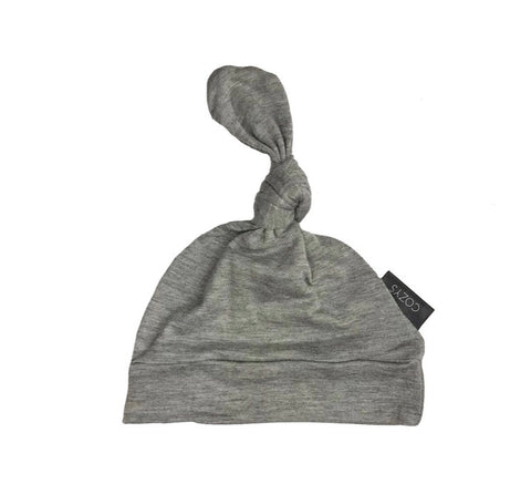 Heather Gray Top Knot Beanie