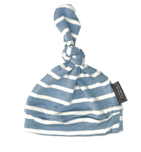 Periwinkle + White Stripe Top Knot Beanie