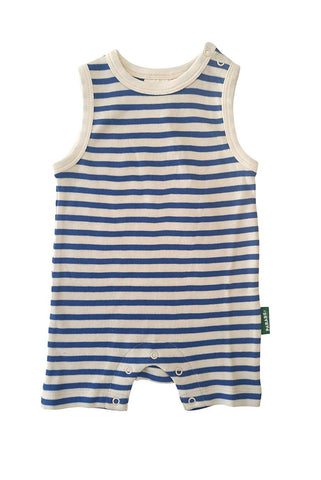 Tank Romper in Cobalt Blue Breton Stripes