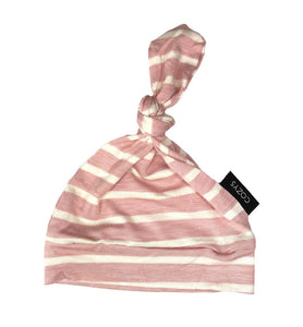 Blush + White Stripe Top Knot Beanie