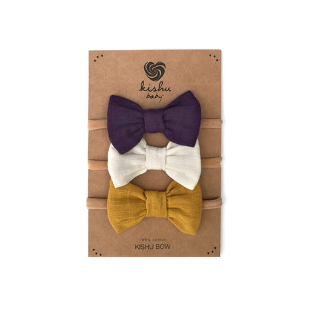 Purple + Ivory + Mustard Bow Set