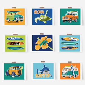 Little surfer beach artwork in custom colors.