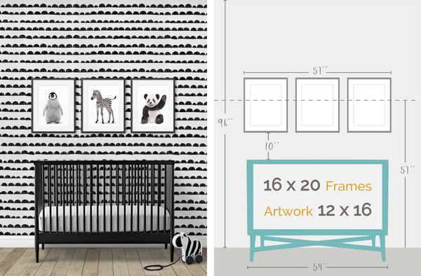 black and white nursery frame layout
