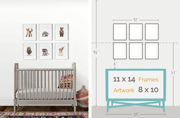 girl's woodland nursery artwork layout