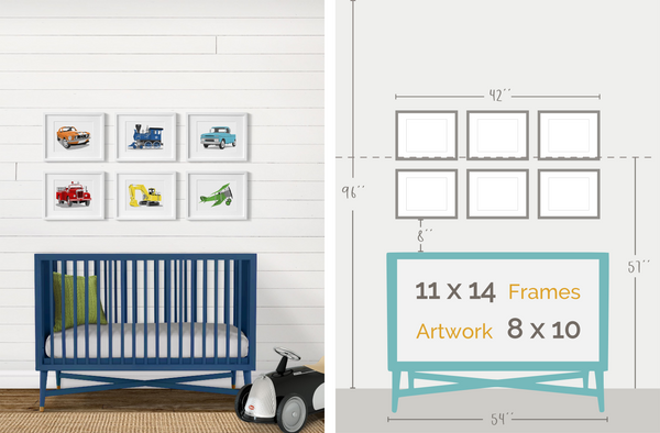 Boys car and truck nursery frame layout