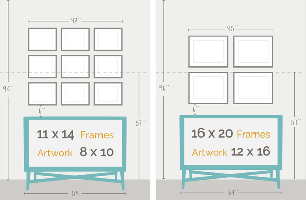 large frame layouts for nursery art