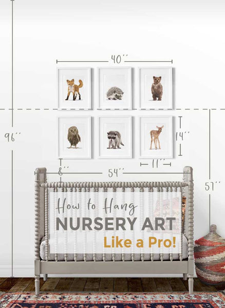 How to hang nursery art like a Pro.  This site gives measurements and examples of frame sizes in real nurseries.