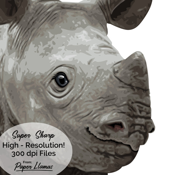 Baby Rhino Printable  - baby nursery art from Paper Llamas