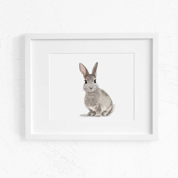 Landscape Baby Bunny  - woodland girl nursery artwork from Paper Llamas