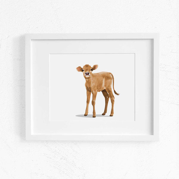 Farm Baby Cow print - baby farm animal nursery artwork from Paper Llamas