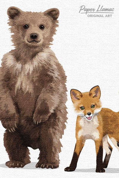 Woodland Animal Parade Printable  - baby nursery art from Paper Llamas