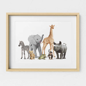 Safari Animal Parade  - baby nursery art from Paper Llamas