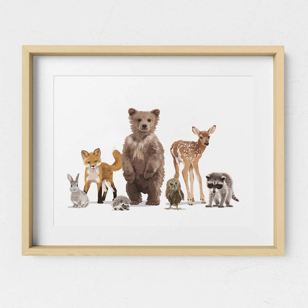Woodland Animal Parade  - baby nursery art from Paper Llamas