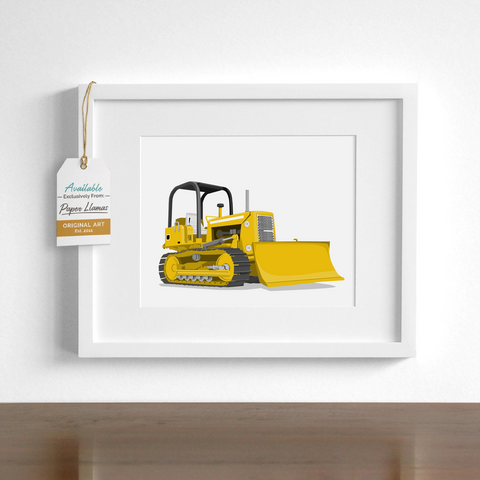 Bulldozer Printable  - baby nursery art from Paper Llamas