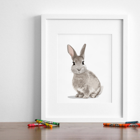 Baby Bunny woodland  Printable  - baby bunny instant download art from Paper Llamas