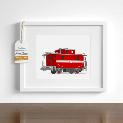 Caboose  - baby nursery art from Paper Llamas