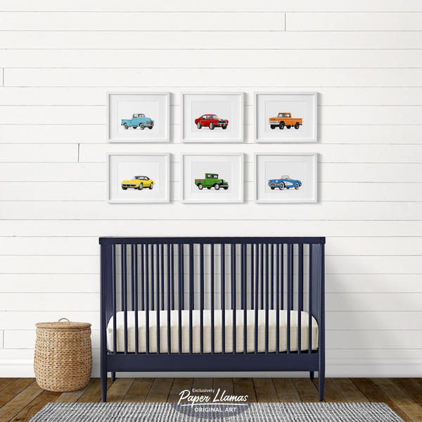 Corvette collection - baby boys nursery artwork from Paper Llamas