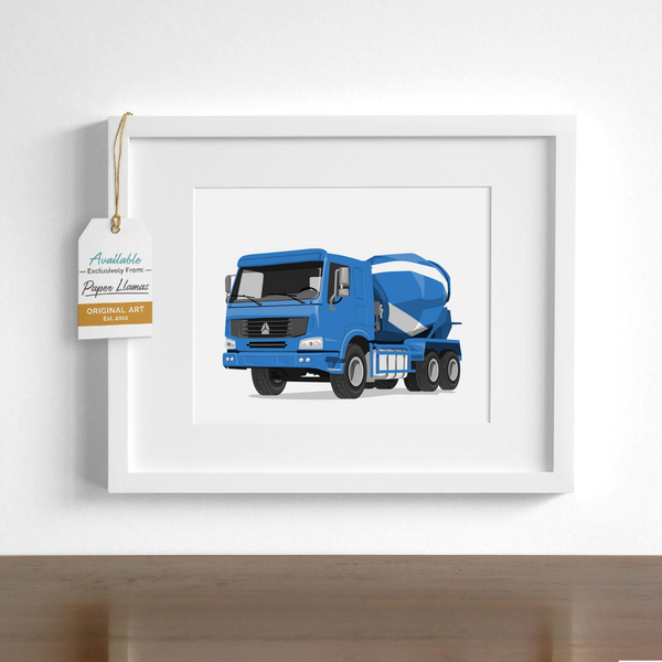 Cement Truck  - baby nursery art from Paper Llamas