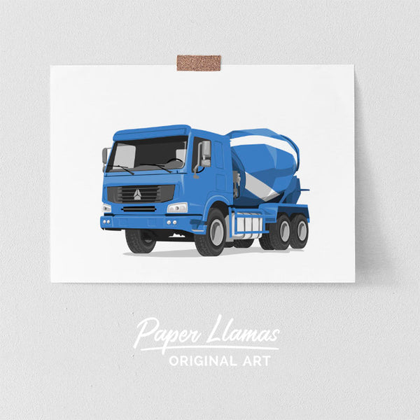 Cement Truck Printable  - baby nursery art from Paper Llamas