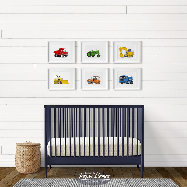 Road Roller  - baby nursery art from Paper Llamas