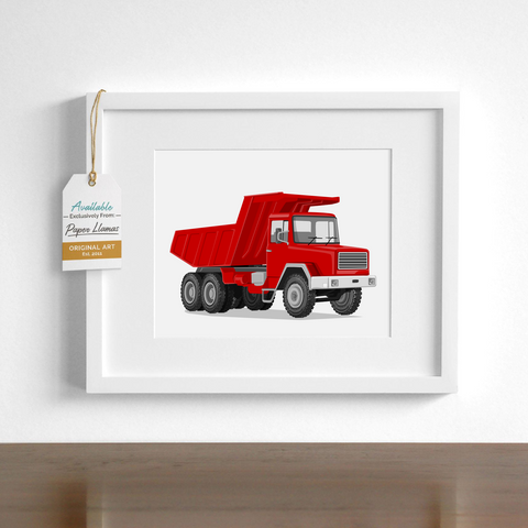Dump Truck  - baby nursery art from Paper Llamas